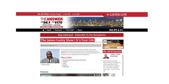 Radio Interview: The James Cooley Show – It's Your Life